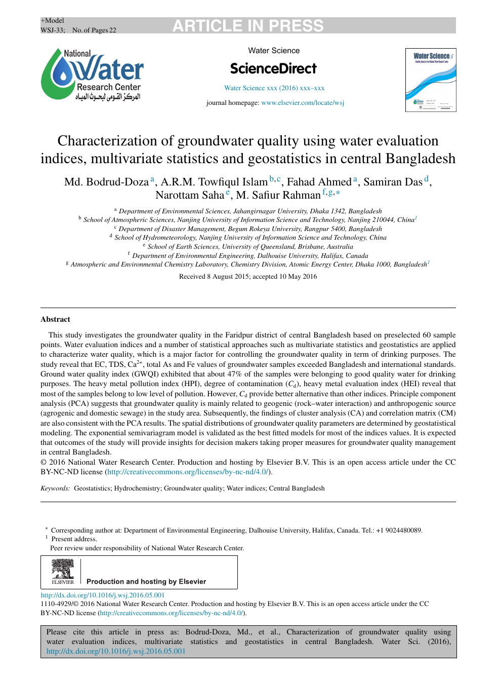Characterization of groundwater quality using water evaluation