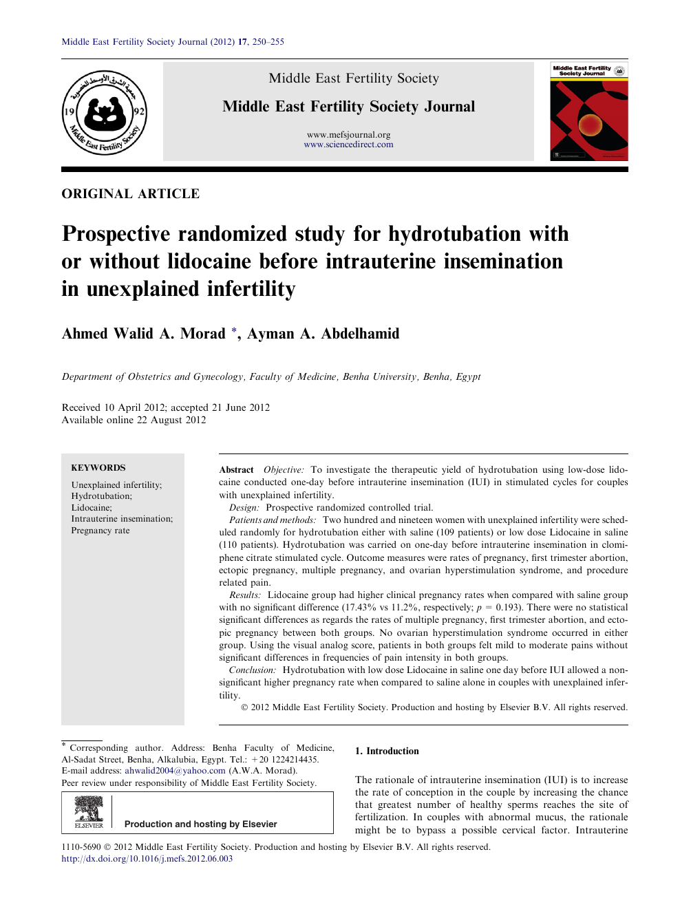 Prospective randomized study for hydrotubation with or