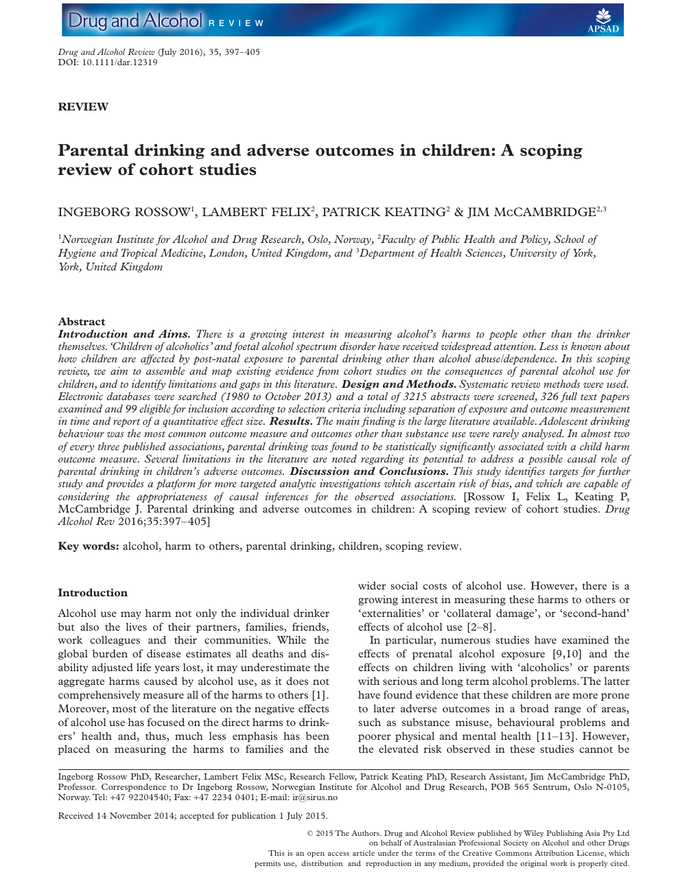 Parental drinking and adverse outcomes in children: A