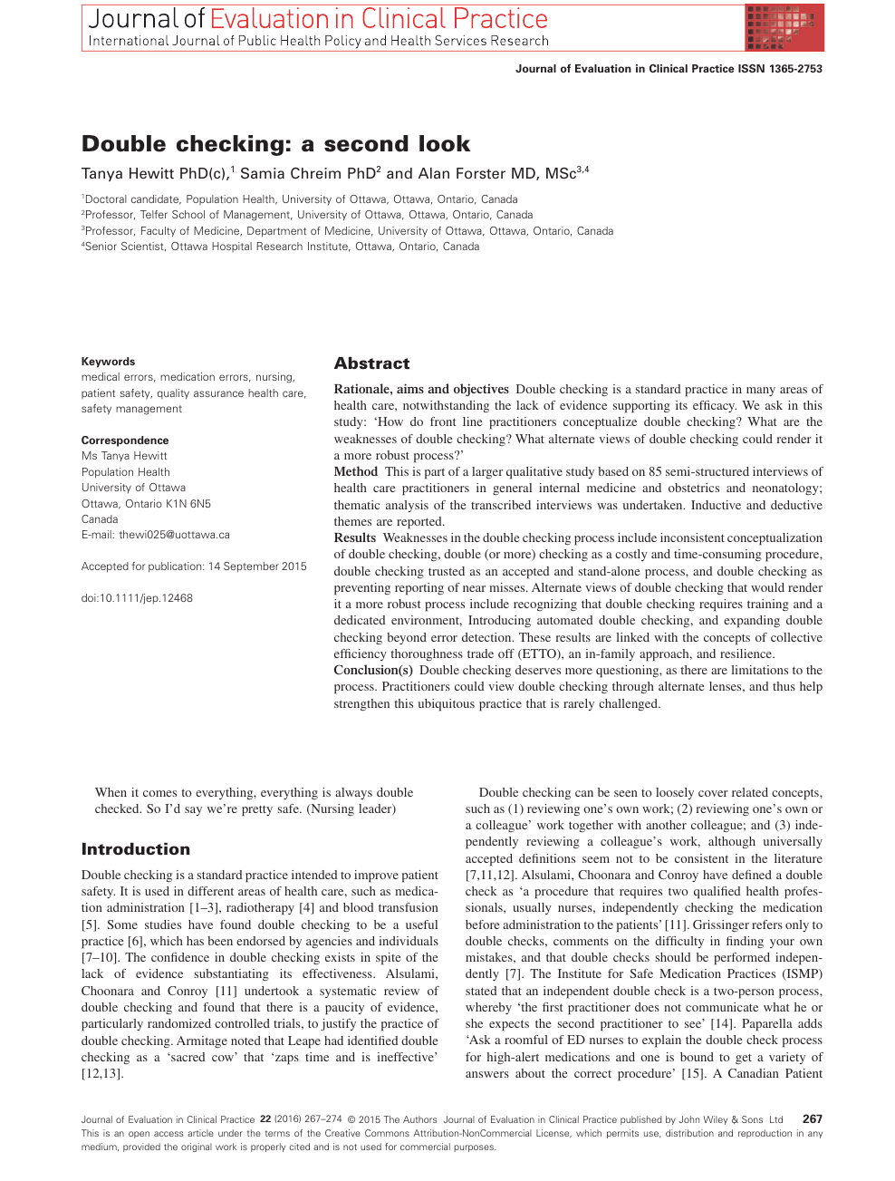 Double checking: a second look – topic of research paper in