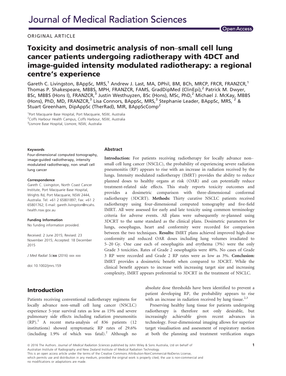 Toxicity and dosimetric analysis of non-small cell lung