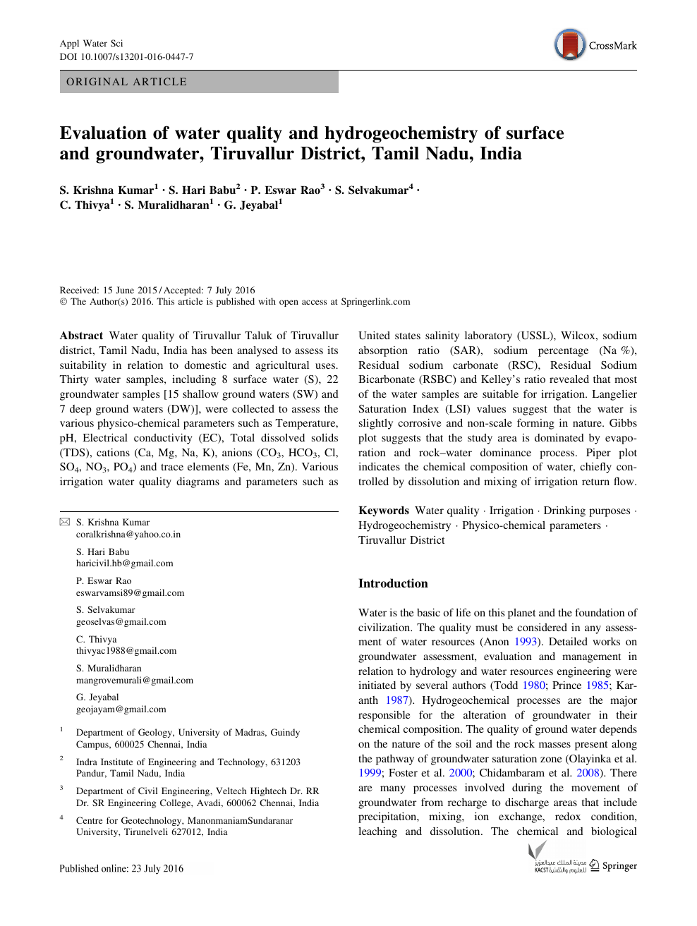 Evaluation of water quality and hydrogeochemistry of surface and
