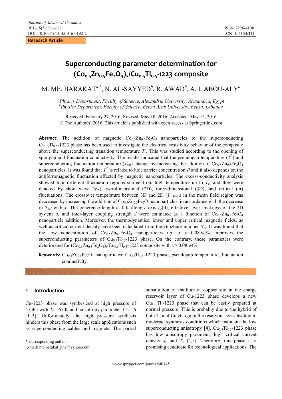 Superconducting parameter determination for (Co0 5Zn0 5Fe2O4