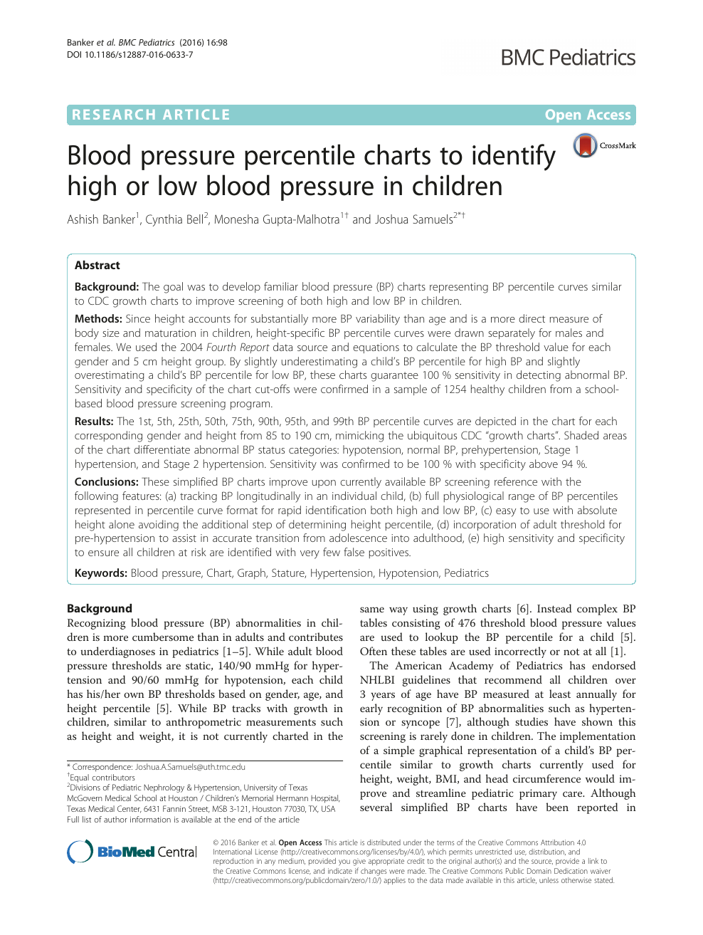 Blood Pressure Percentile Charts To Identify High Or Low Blood Pressure In Children Topic Of Research Paper In Medical Engineering Download Scholarly Article Pdf And Read For Free On Cyberleninka Open