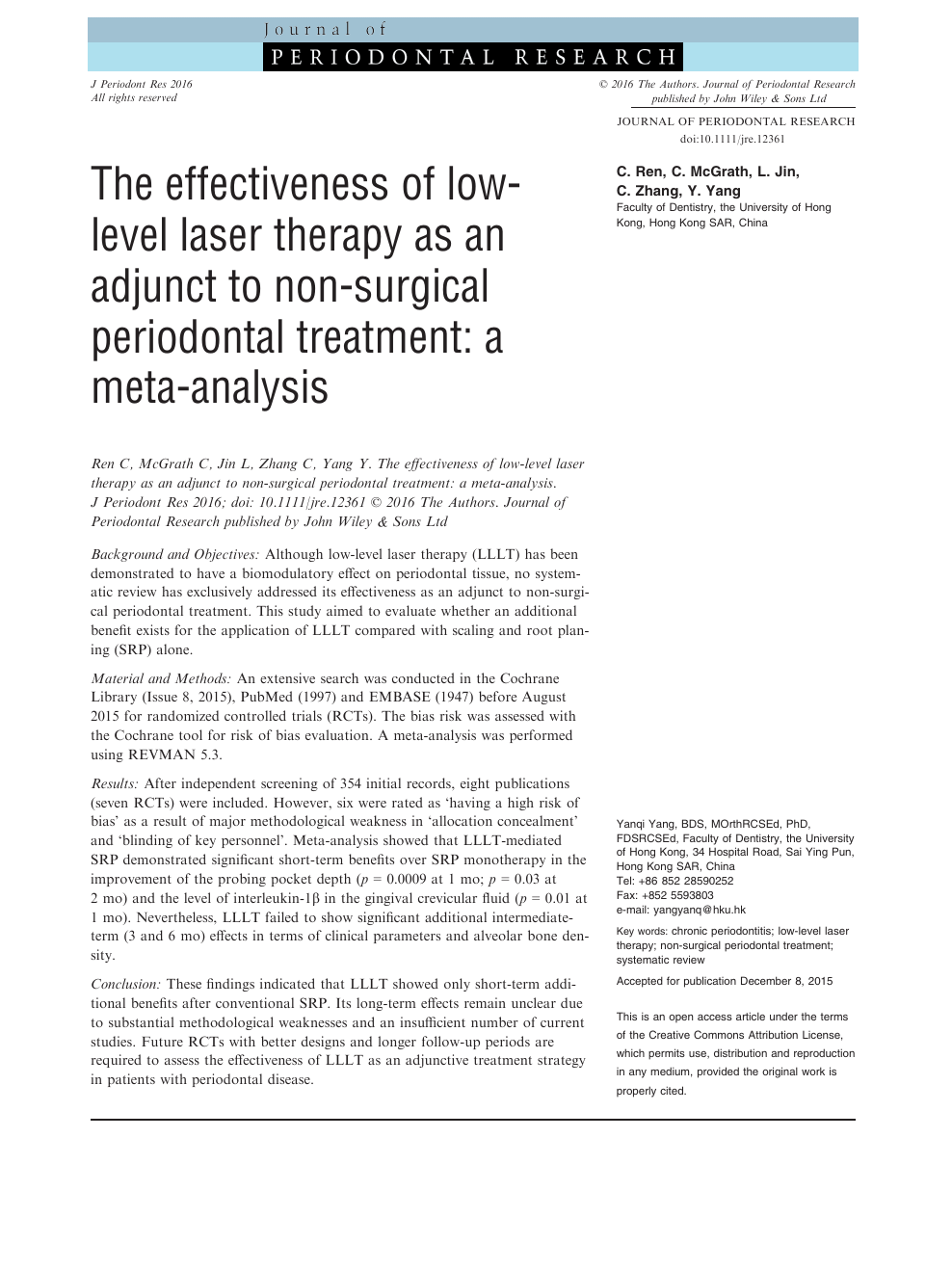 The effectiveness of low-level laser therapy as an adjunct