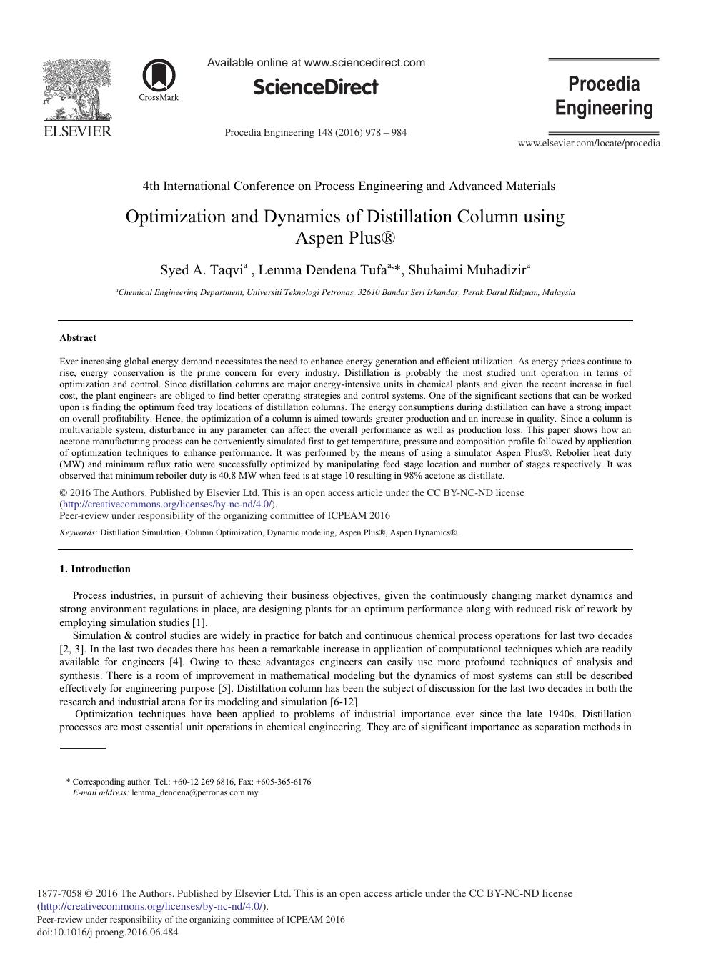 Optimization and Dynamics of Distillation Column Using Aspen