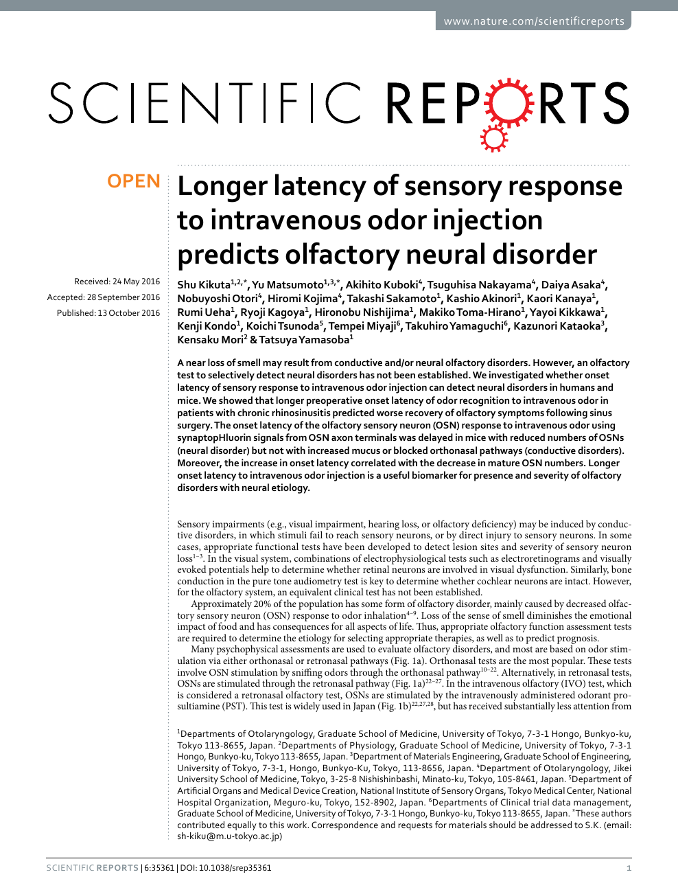 Longer latency of sensory response to intravenous odor