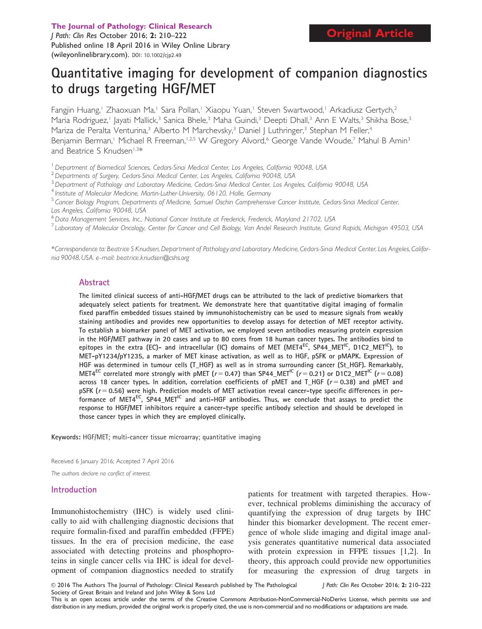 Quantitative imaging for development of companion