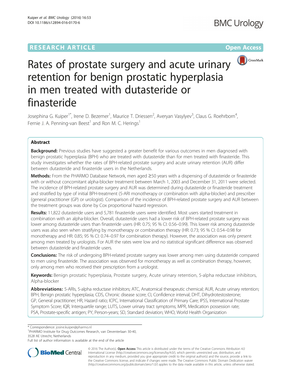 Rates Of Prostate Surgery And Acute Urinary Retention For Benign Prostatic Hyperplasia In Men Treated With Dutasteride Or Finasteride Topic Of Research Paper In Clinical Medicine Download Scholarly Article Pdf And