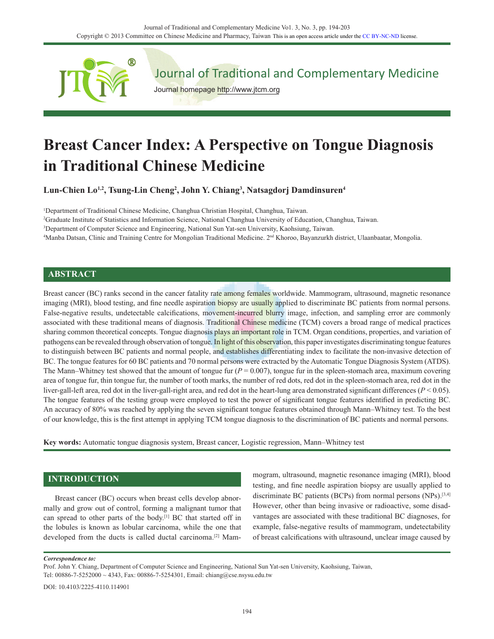 Breast Cancer Index: A Perspective on Tongue Diagnosis in