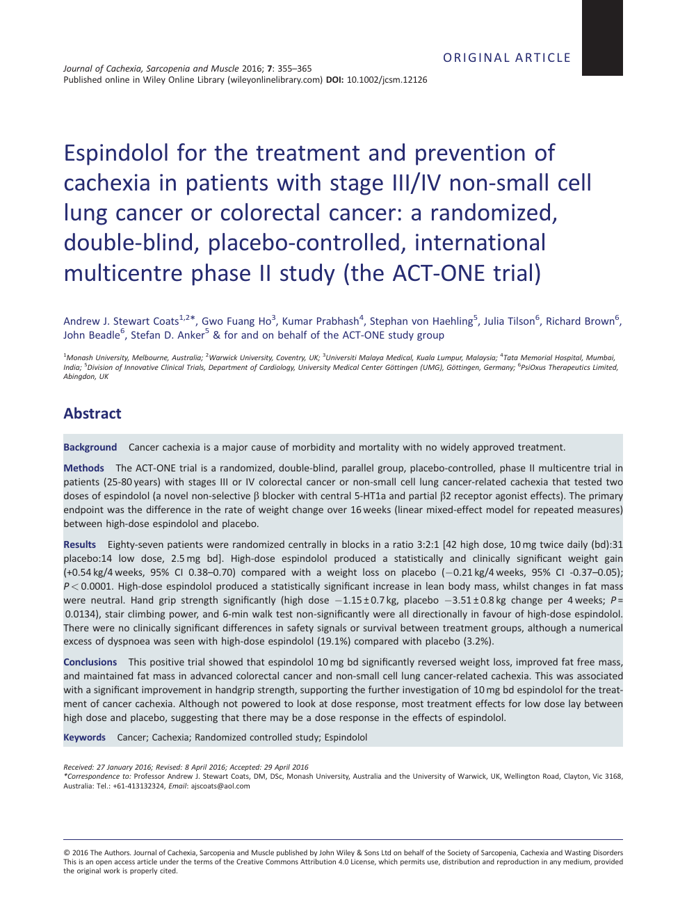 Espindolol for the treatment and prevention of cachexia in patients