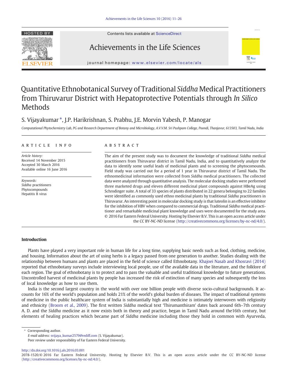 Quantitative Ethnobotanical Survey of Traditional Siddha Medical