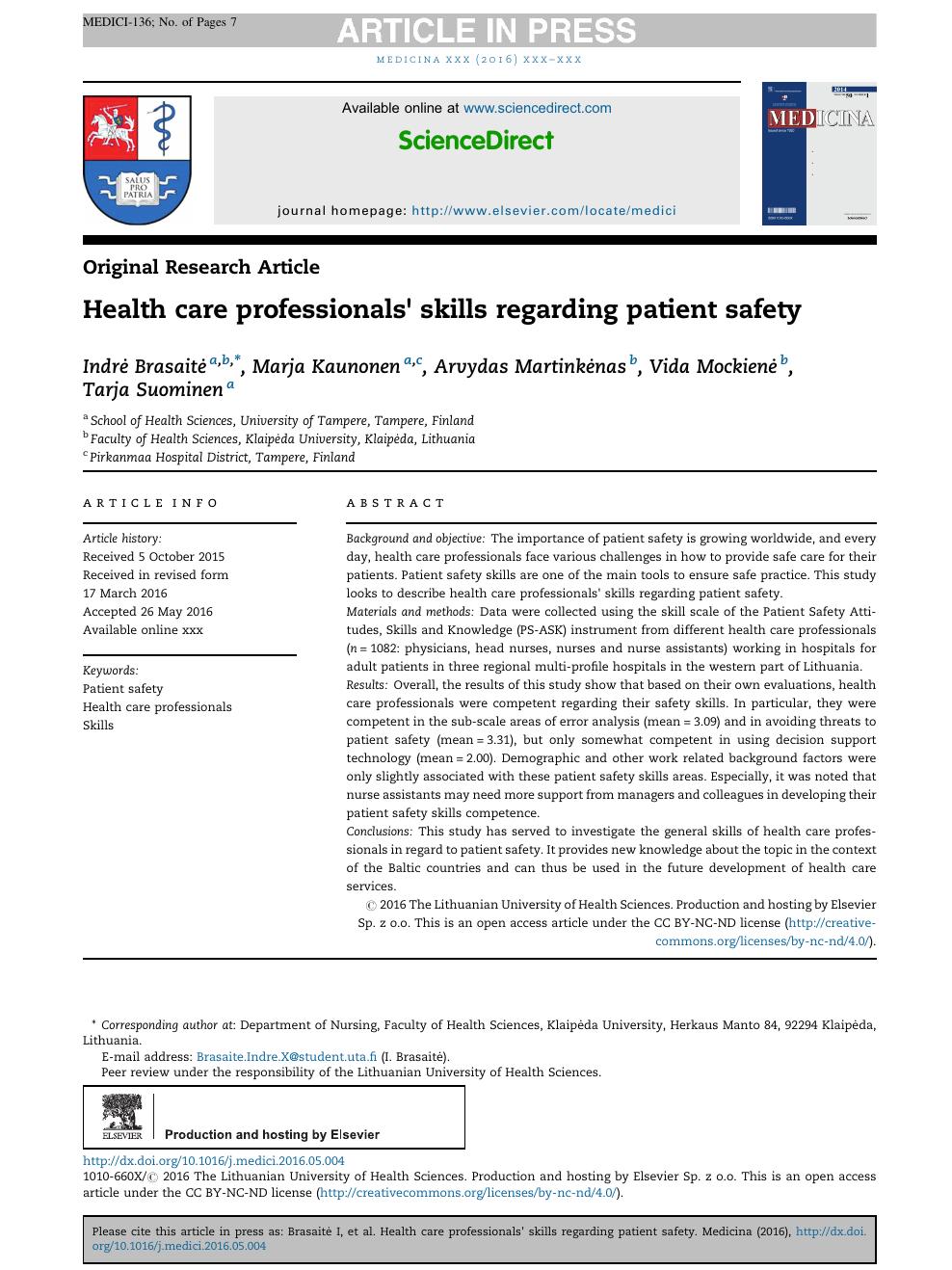 Health care professionals' skills regarding patient safety
