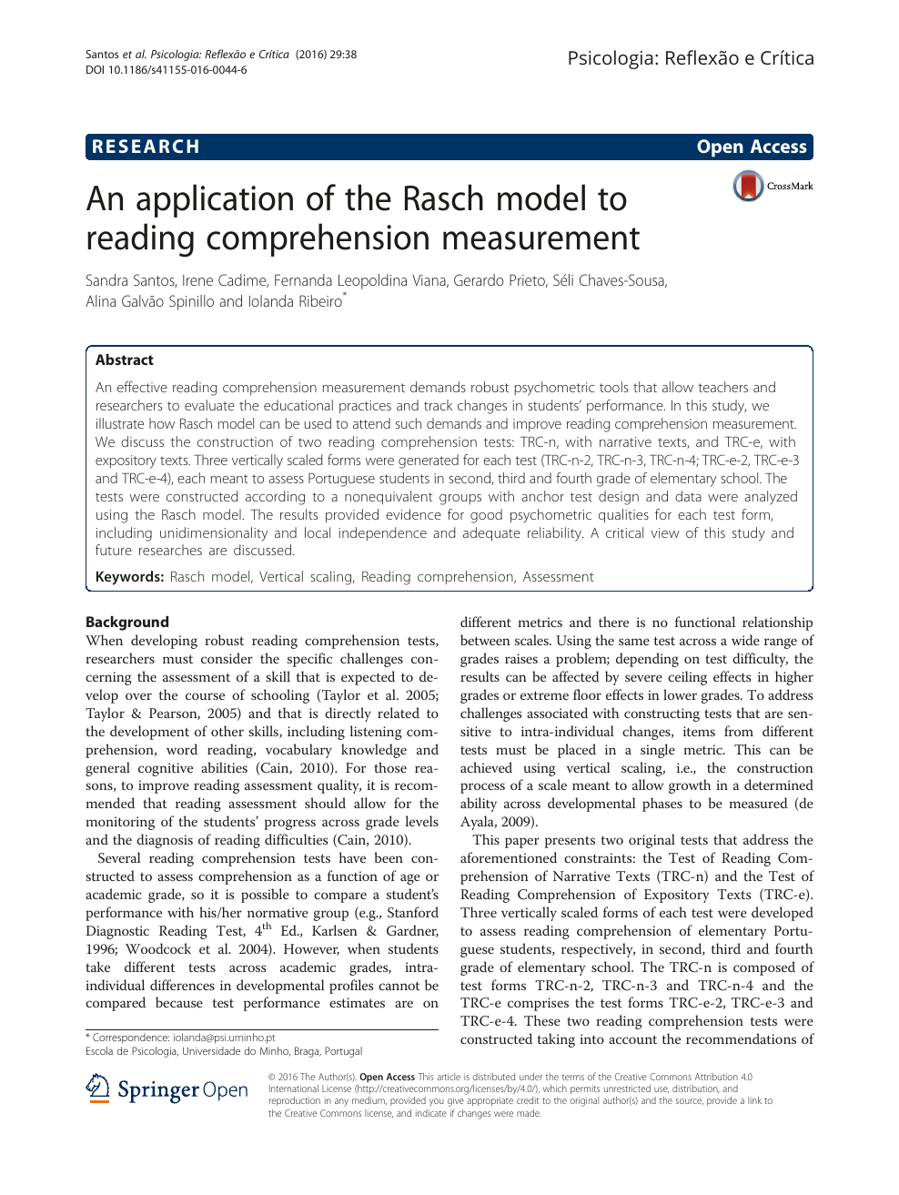 - An Application Of The Rasch Model To Reading Comprehension