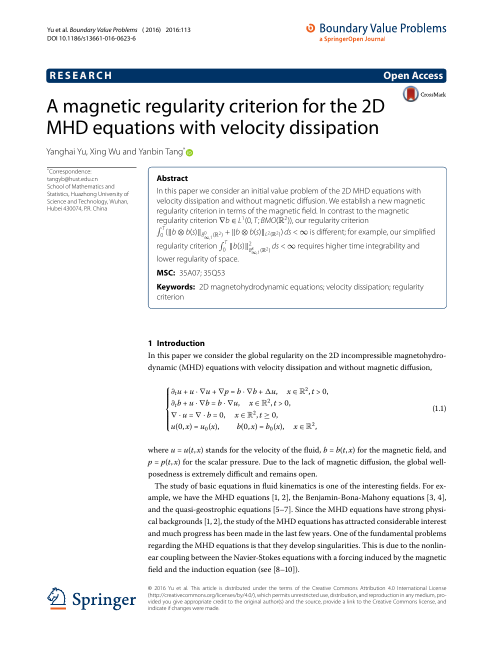 A magnetic regularity criterion for the 2D MHD equations