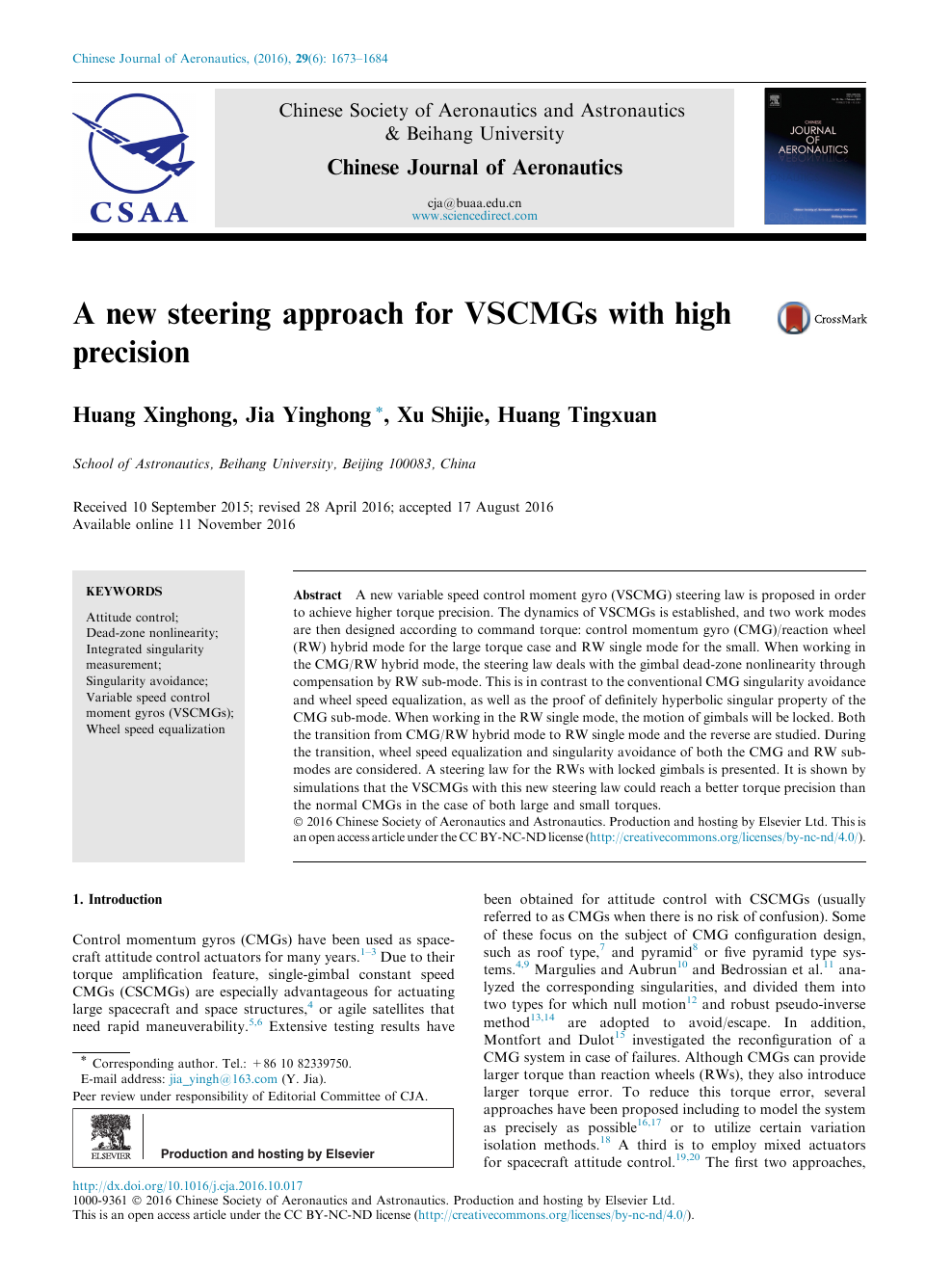 A new steering approach for VSCMGs with high precision