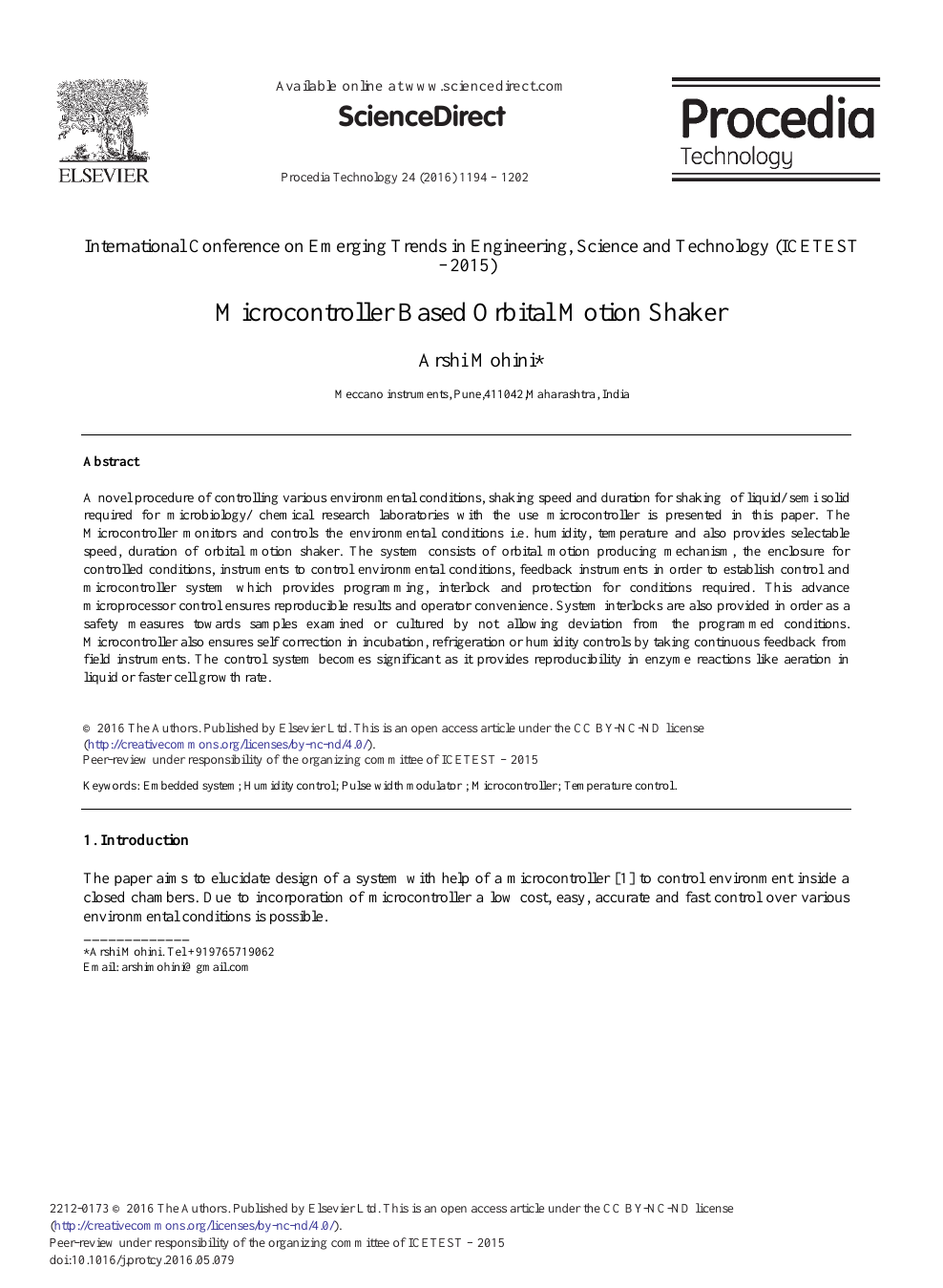 Microcontroller Based Orbital Motion Shaker – topic of