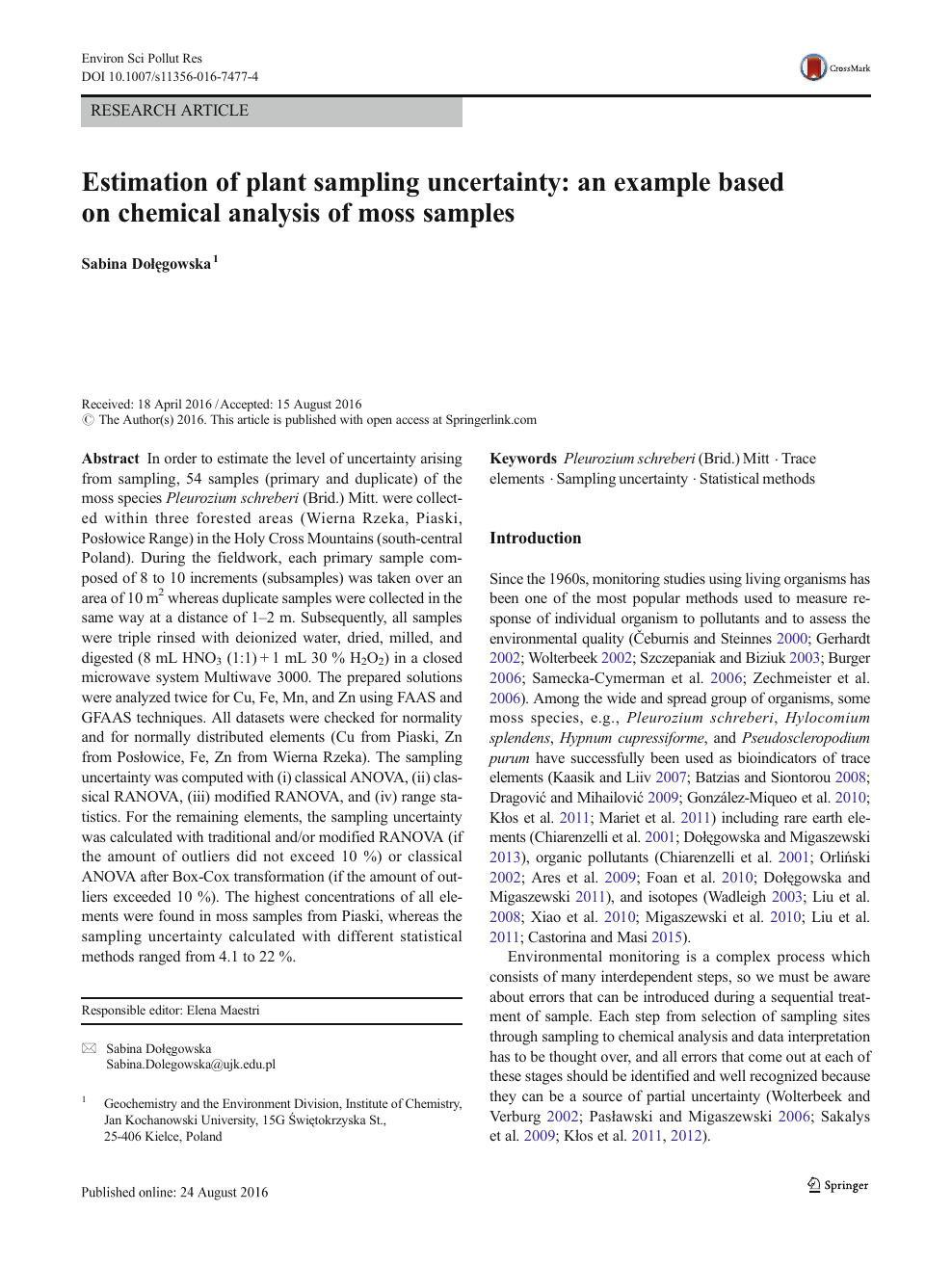 Estimation of plant sampling uncertainty: an example based