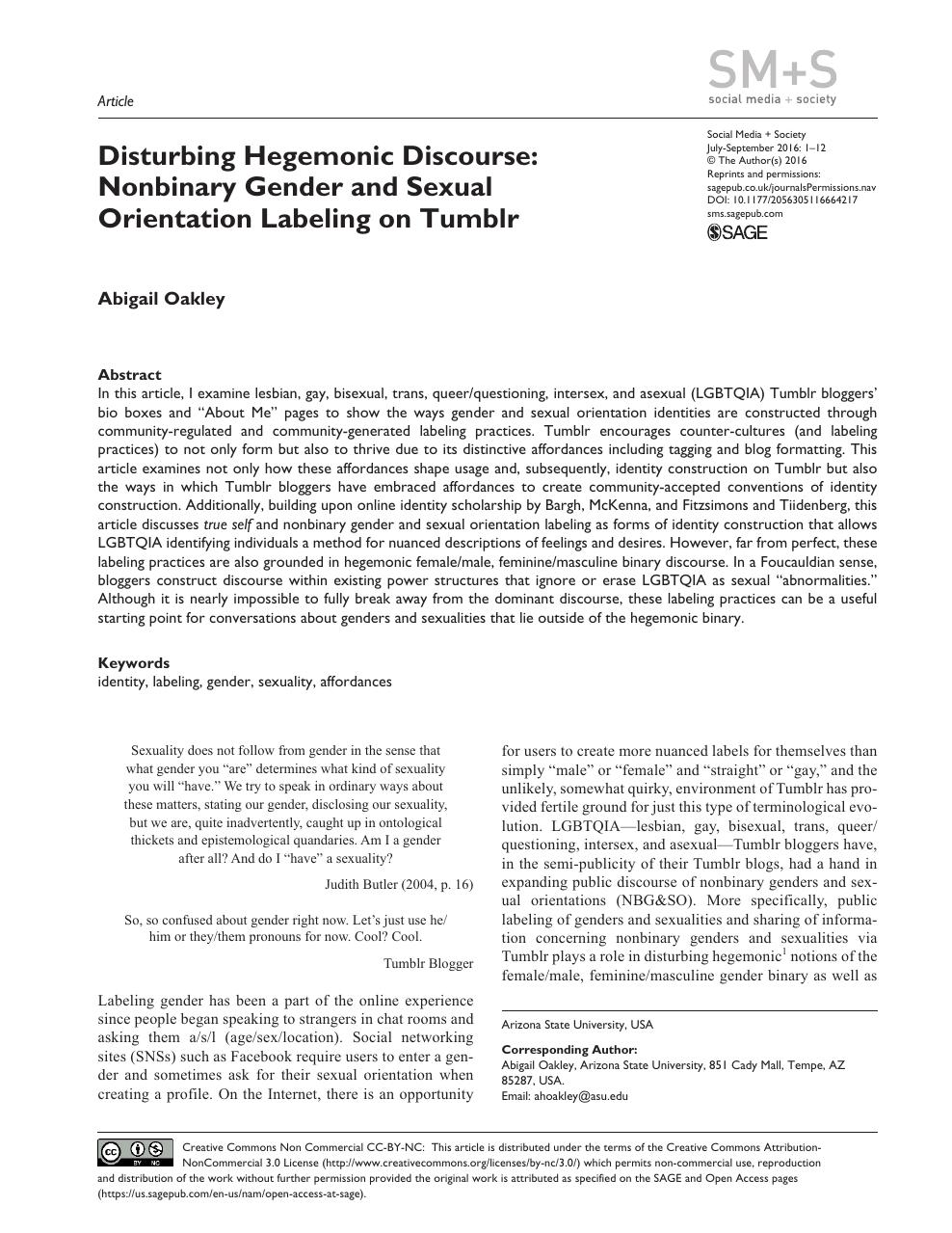 Disturbing Hegemonic Discourse: Nonbinary Gender and Sexual