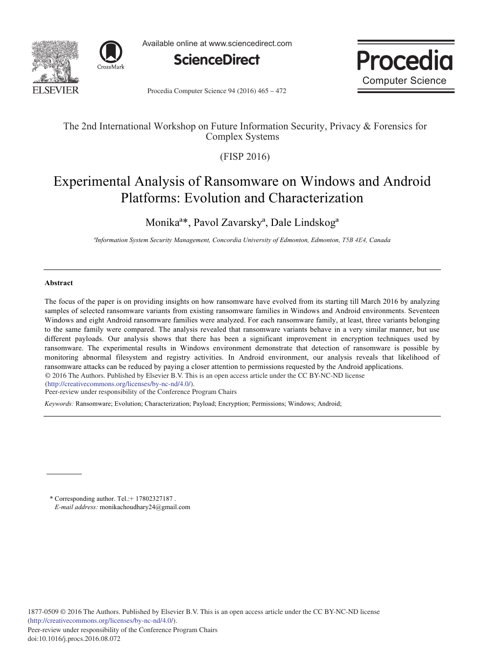 Experimental Analysis Of Ransomware On Windows And Android Platforms