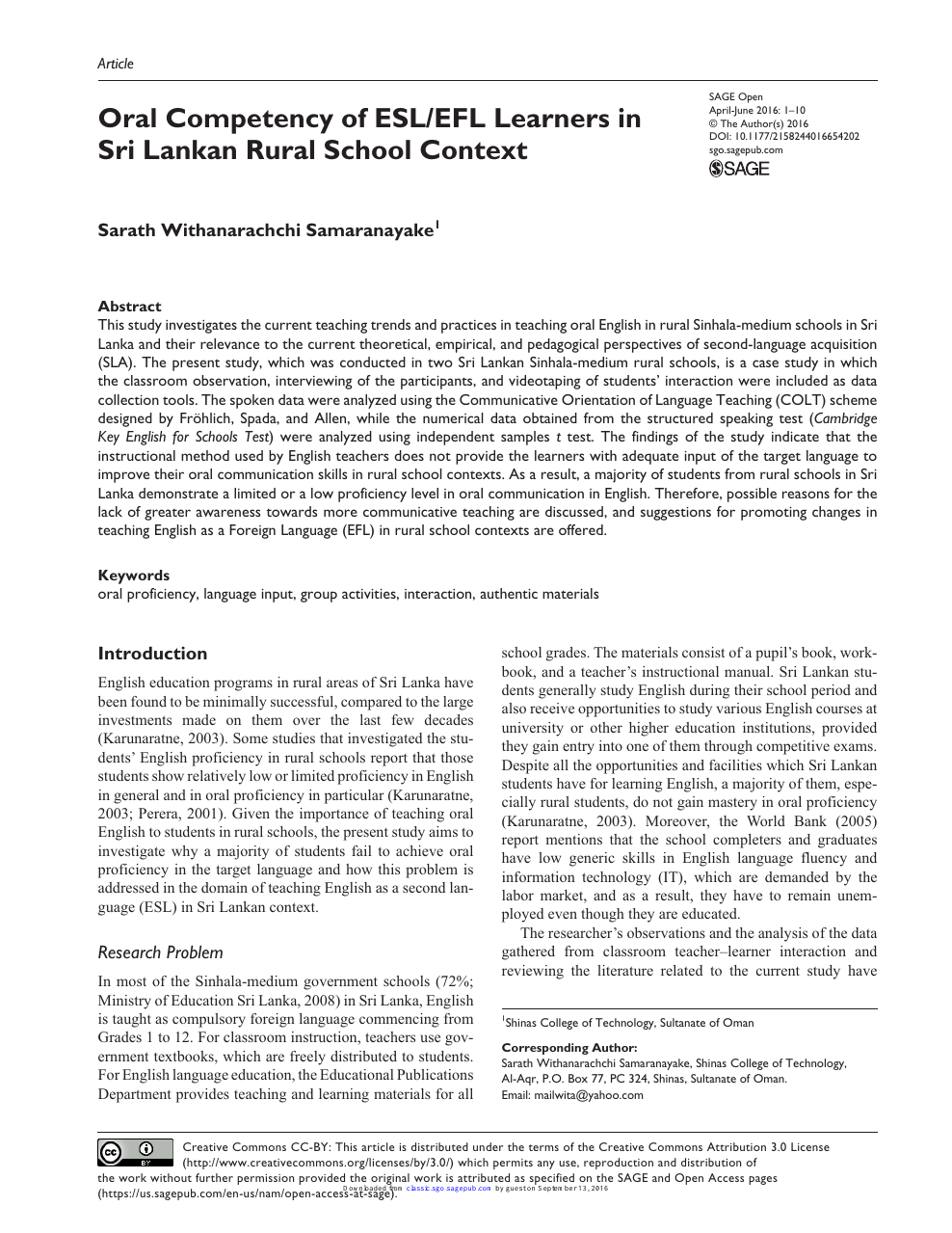 Oral Competency of ESL/EFL Learners in Sri Lankan Rural School