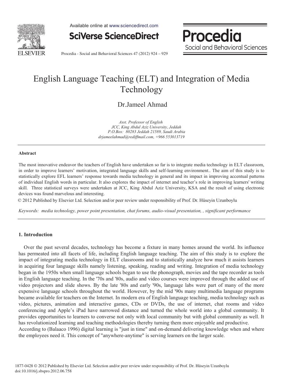 English Language Teaching (ELT) and Integration of Media