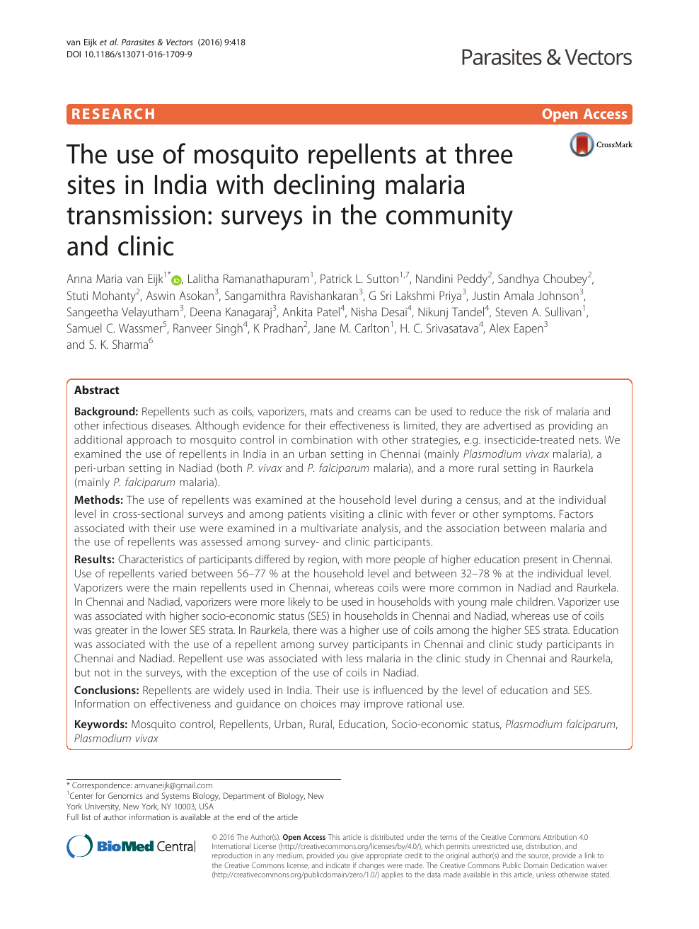 The use of mosquito repellents at three sites in India with