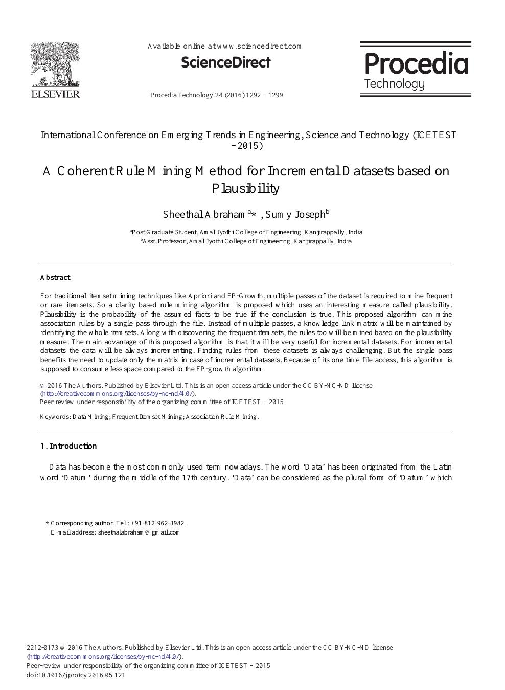 A Coherent Rule Mining Method for Incremental Datasets Based
