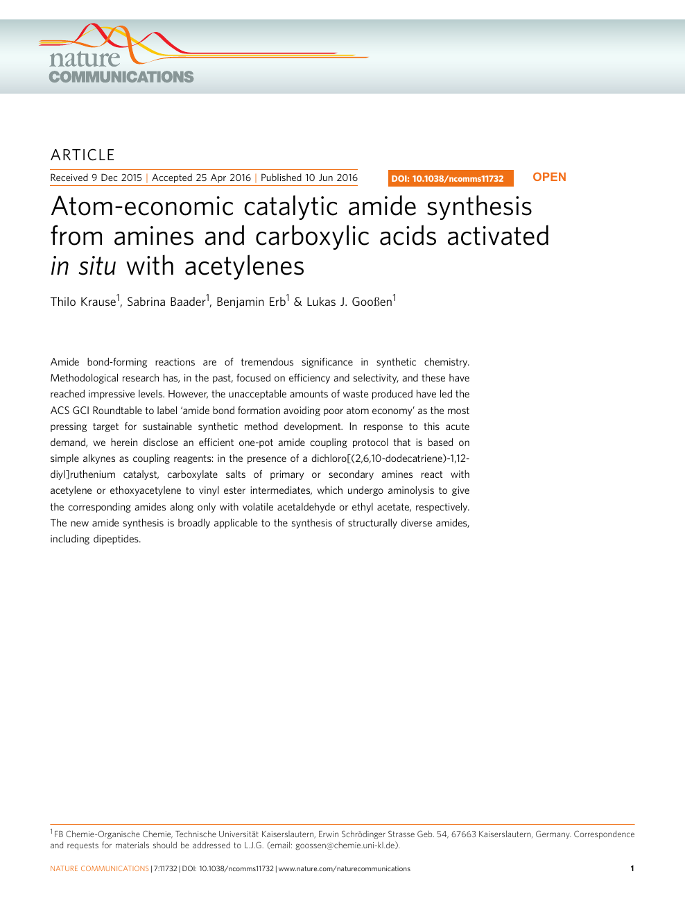 Atom-economic catalytic amide synthesis from amines and