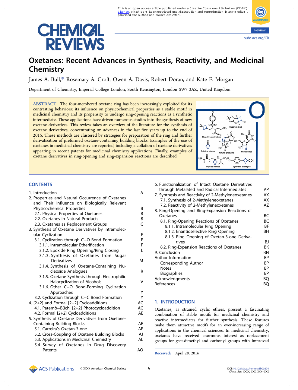 Oxetanes: Recent Advances in Synthesis, Reactivity, and