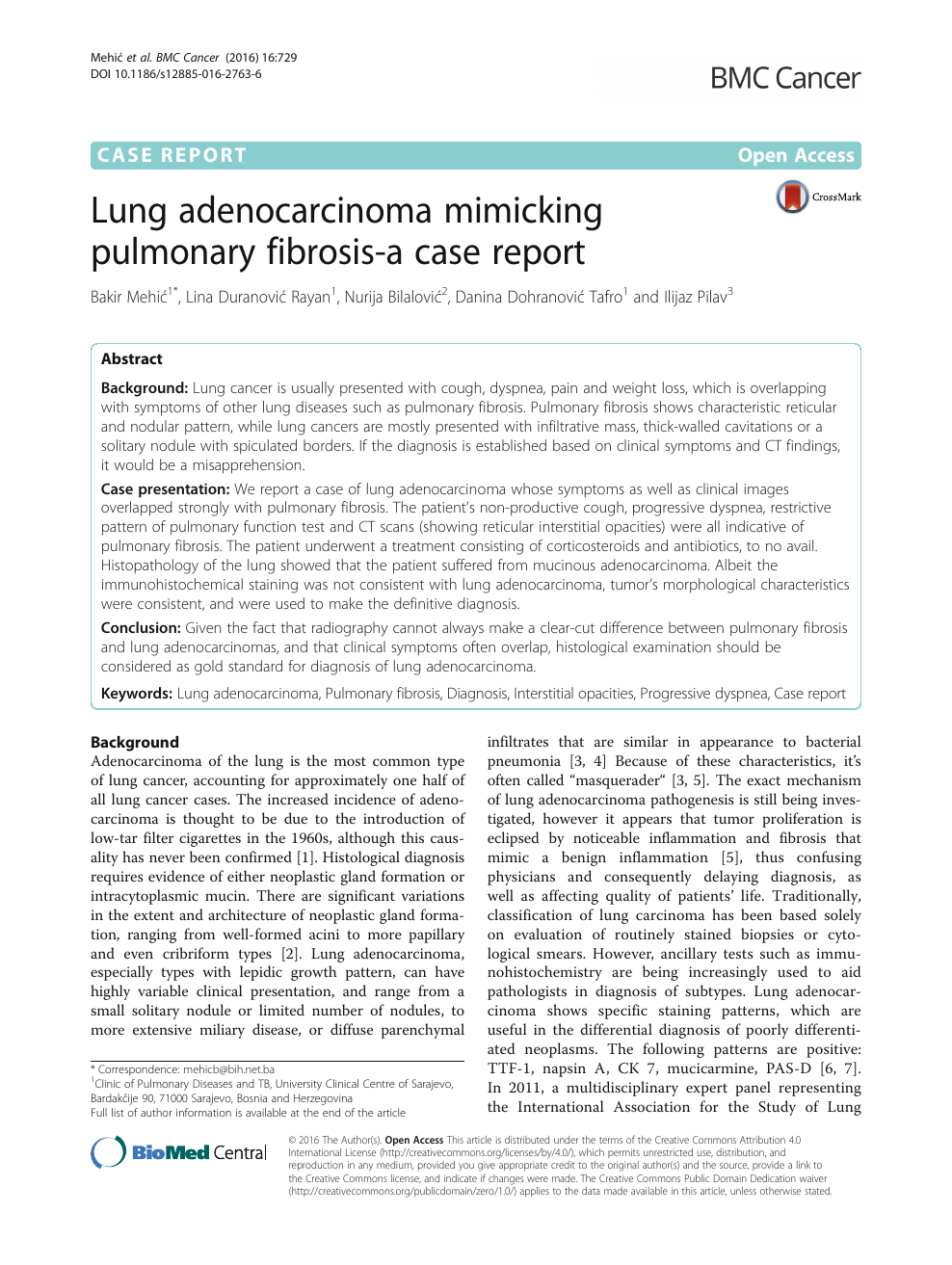 Lung adenocarcinoma mimicking pulmonary fibrosis-a case report
