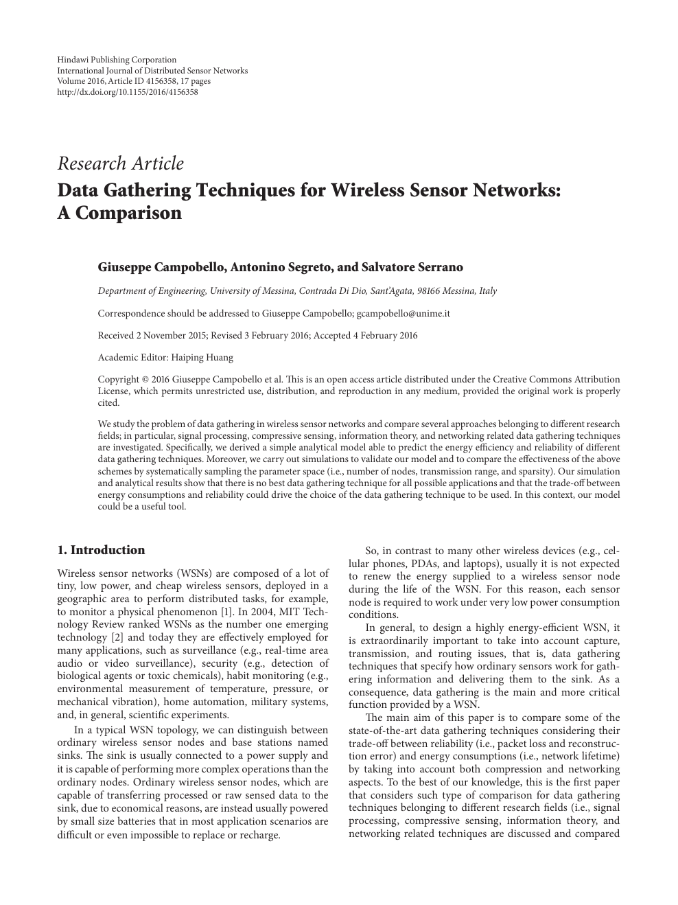 Data Gathering Techniques for Wireless Sensor Networks: A