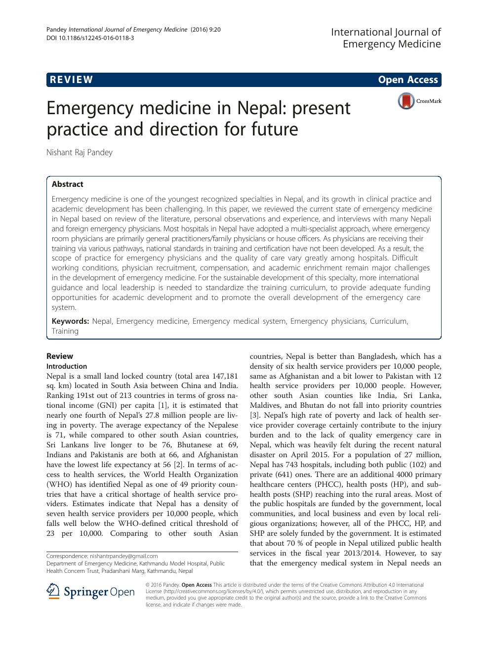 Emergency medicine in Nepal: present practice and direction