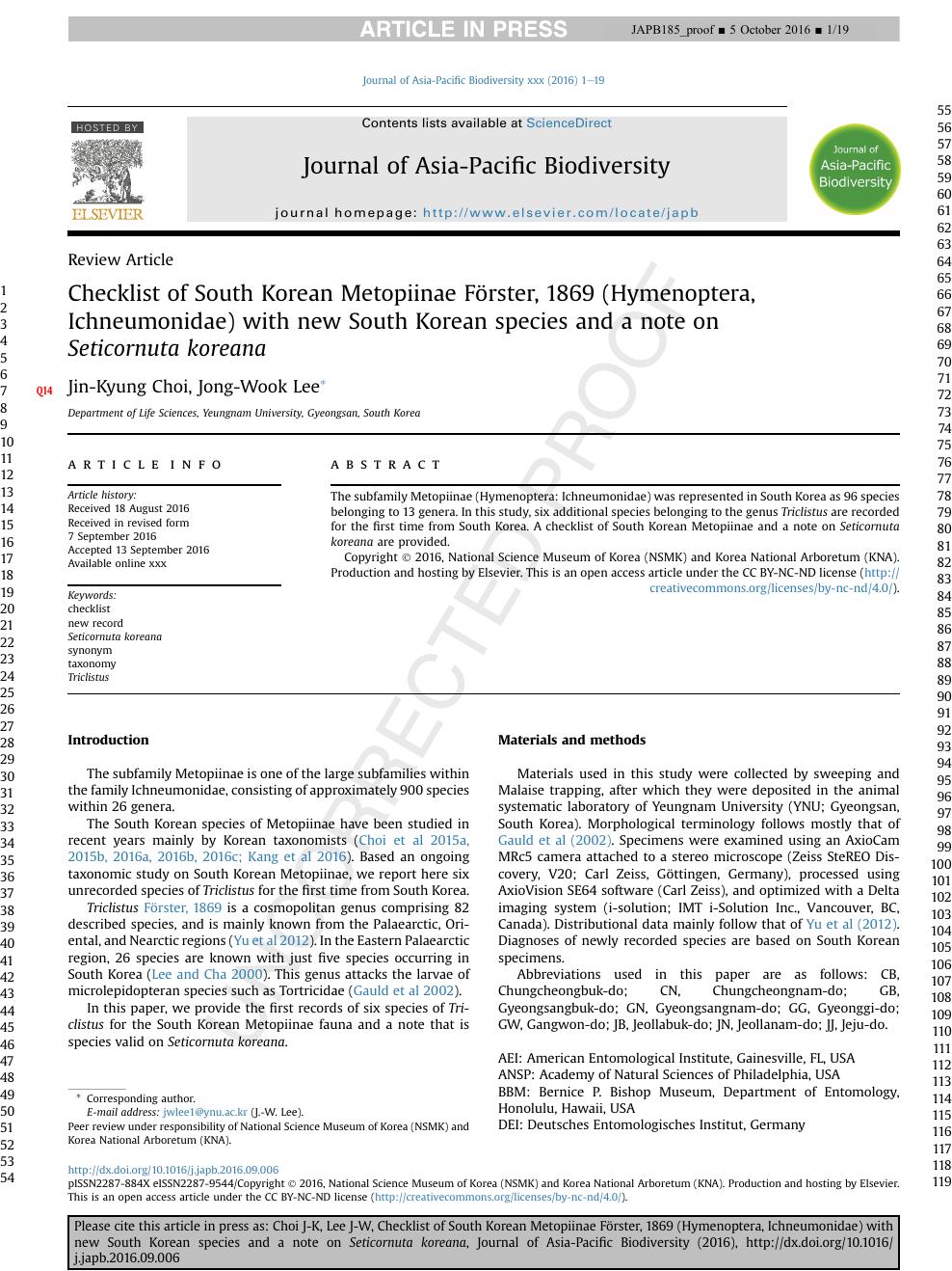 Checklist Of South Korean Metopiinae Förster 1869