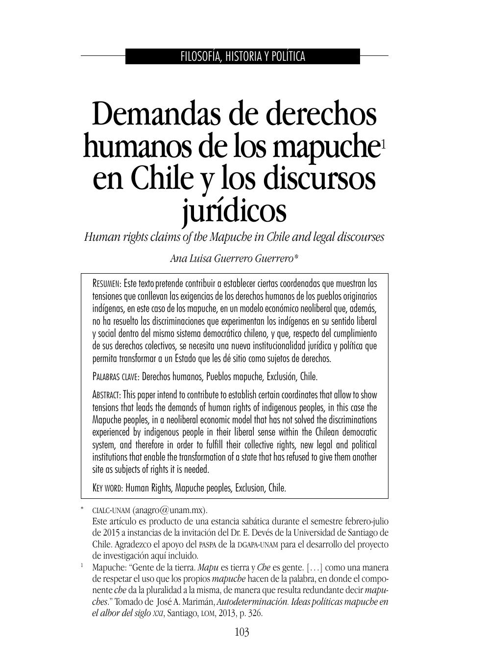 Demandas De Derechos Humanos De Los Mapuche En Chile Y Los
