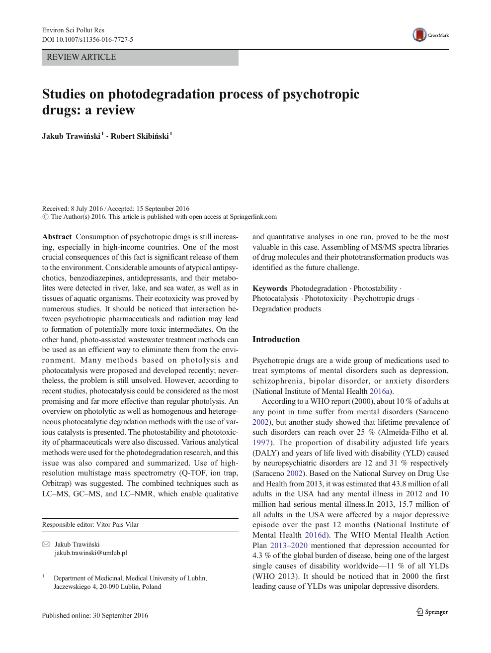 Studies on photodegradation process of psychotropic drugs: a review