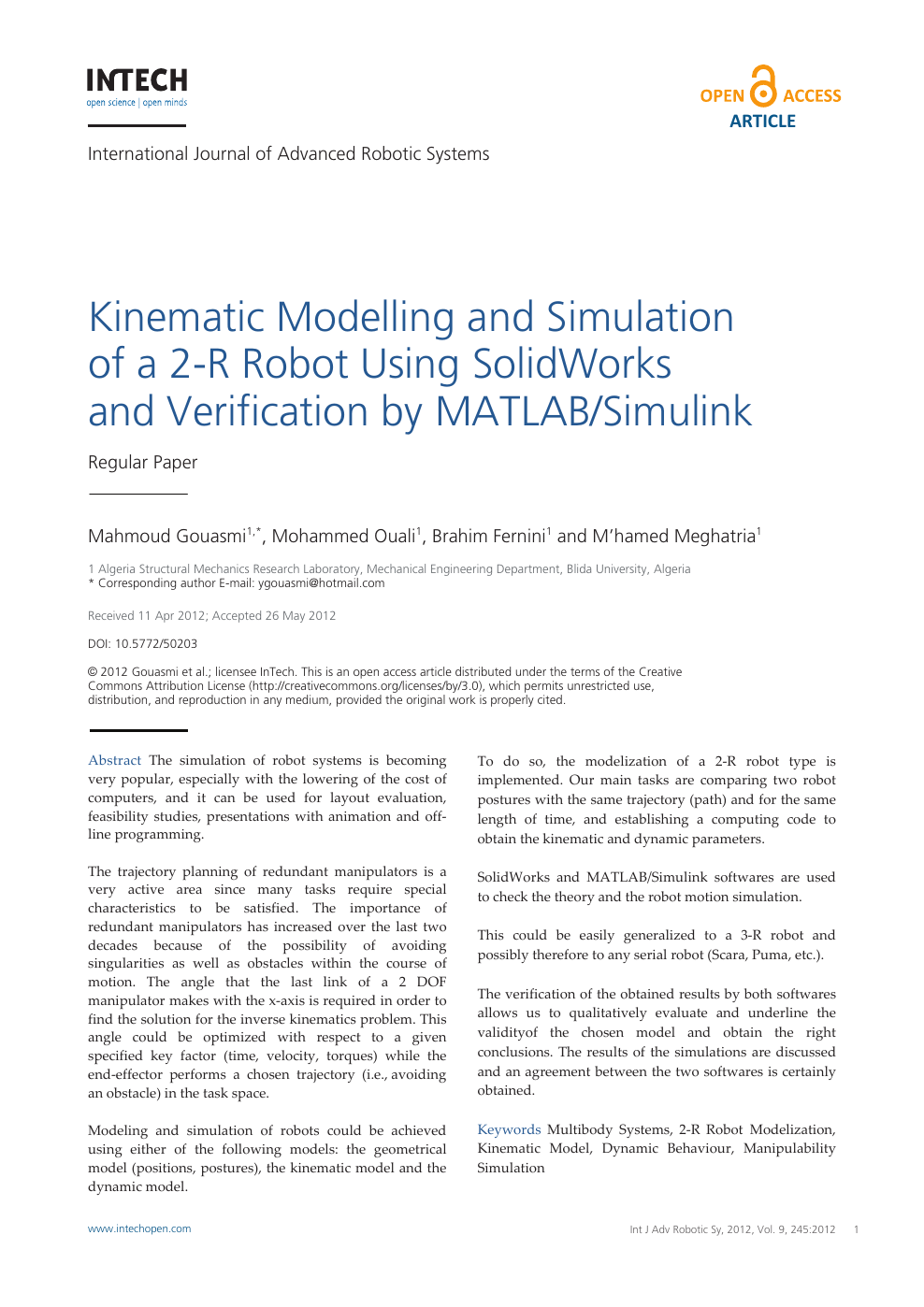 Kinematic Modelling and Simulation of a 2-R Robot Using