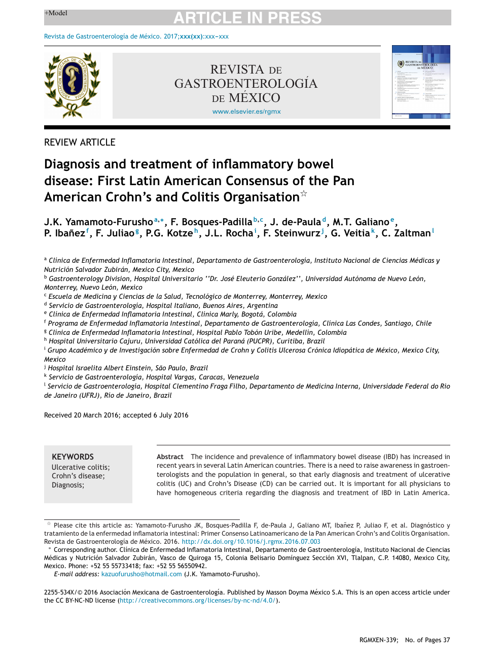 Diagnosis And Treatment Of Inflammatory Bowel Disease First Latin American Consensus Of The Pan American Crohn S And Colitis Organisation Topic Of Research Paper In Clinical Medicine Download Scholarly Article Pdf And