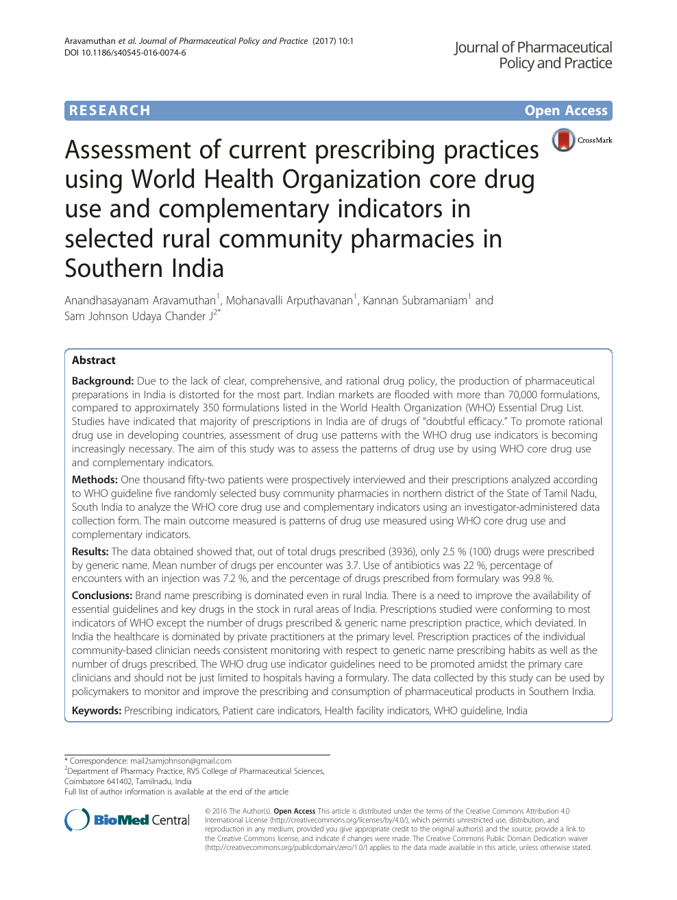 Assessment of current prescribing practices using World