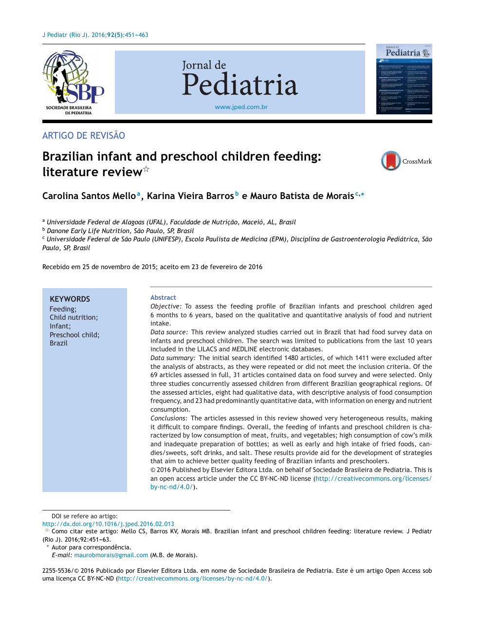 f945daf114 Brazilian infant and preschool children feeding  literature review ...