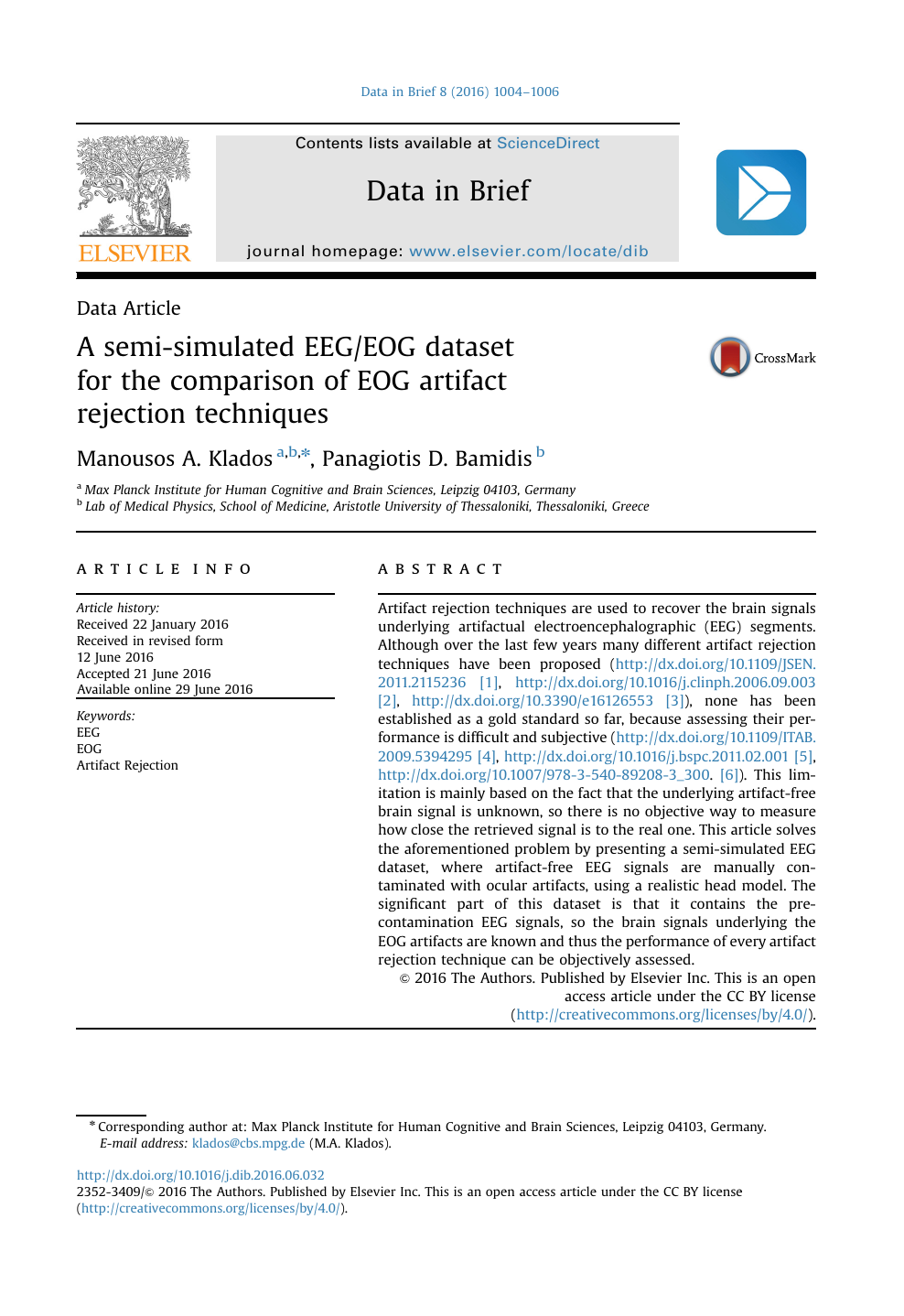 A semi-simulated EEG/EOG dataset for the comparison of EOG artifact