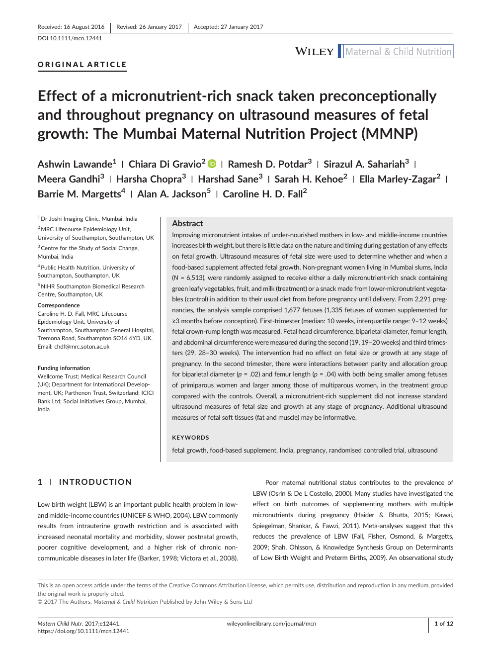 Effect of a micronutrient-rich snack taken preconceptionally