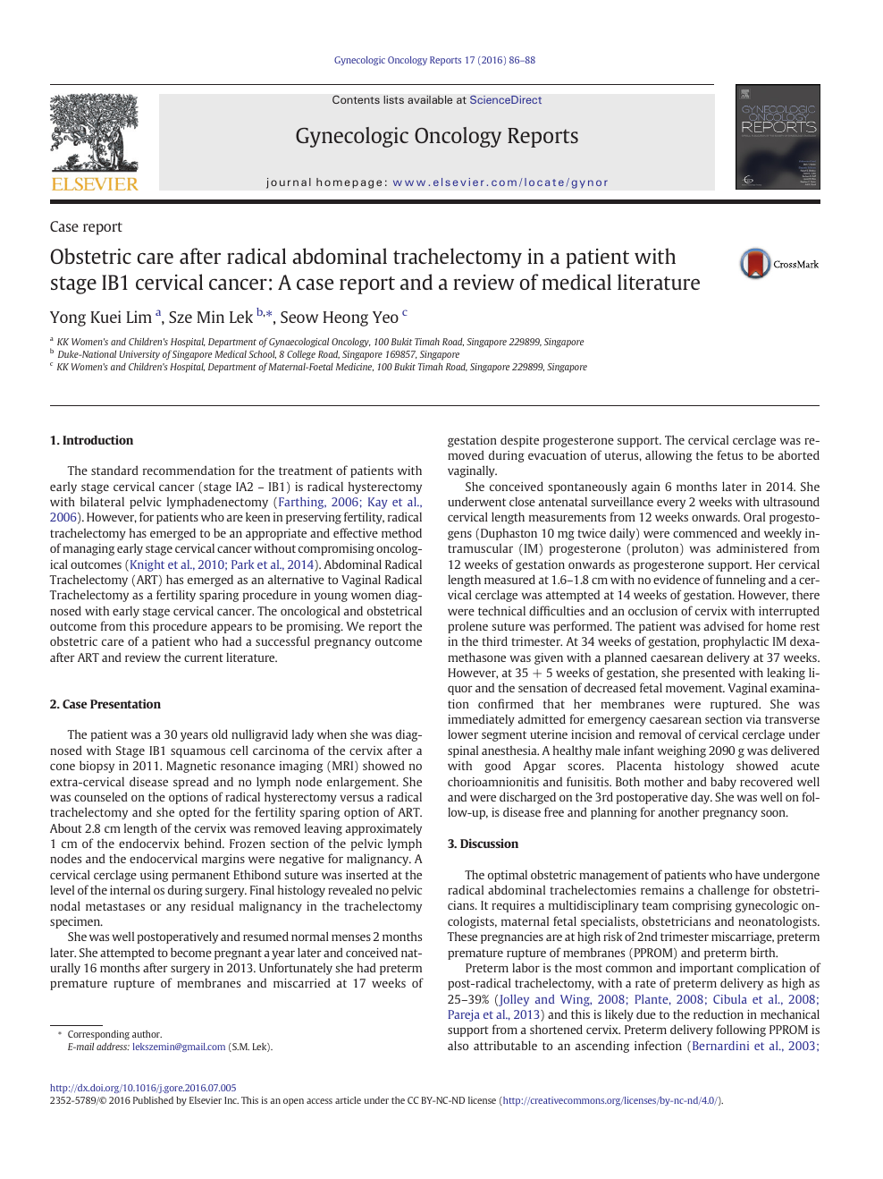 Obstetric care after radical abdominal trachelectomy in a patient