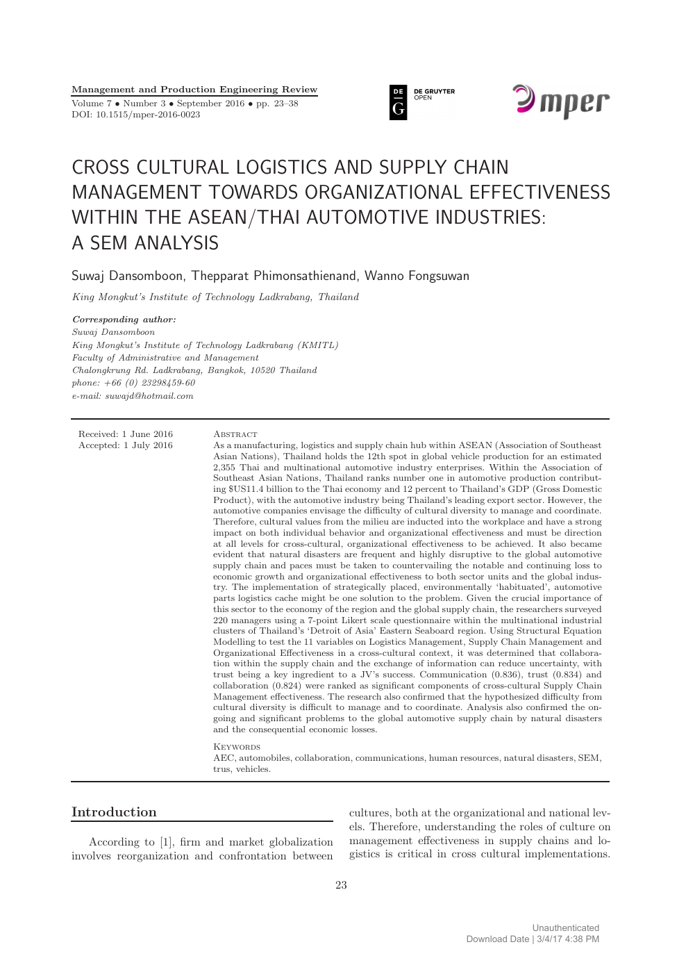 Cross Cultural Logistics and Supply Chain Management Towards