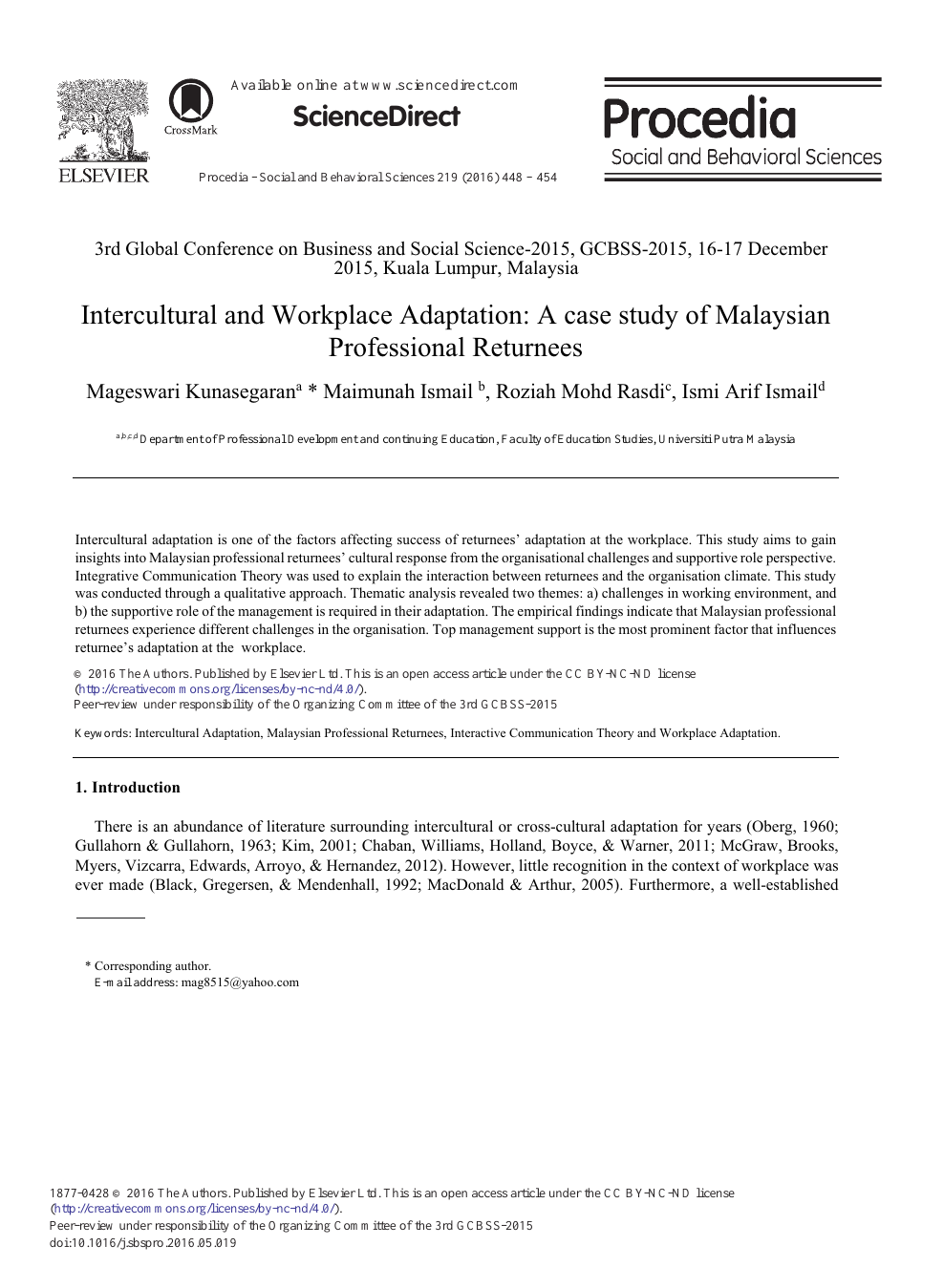 Intercultural and Workplace Adaptation: A Case Study of