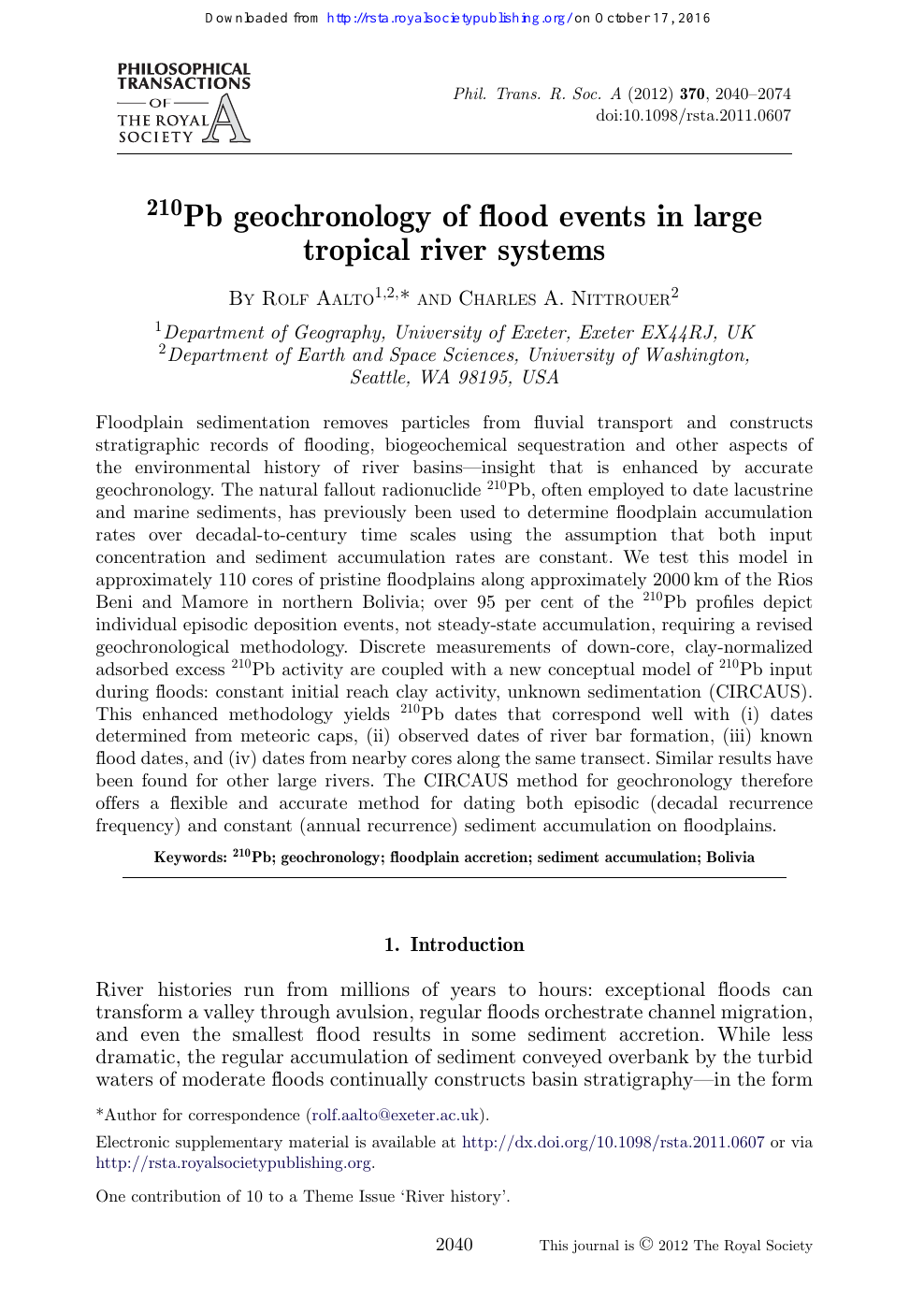 210Pb geochronology of flood events in large tropical river