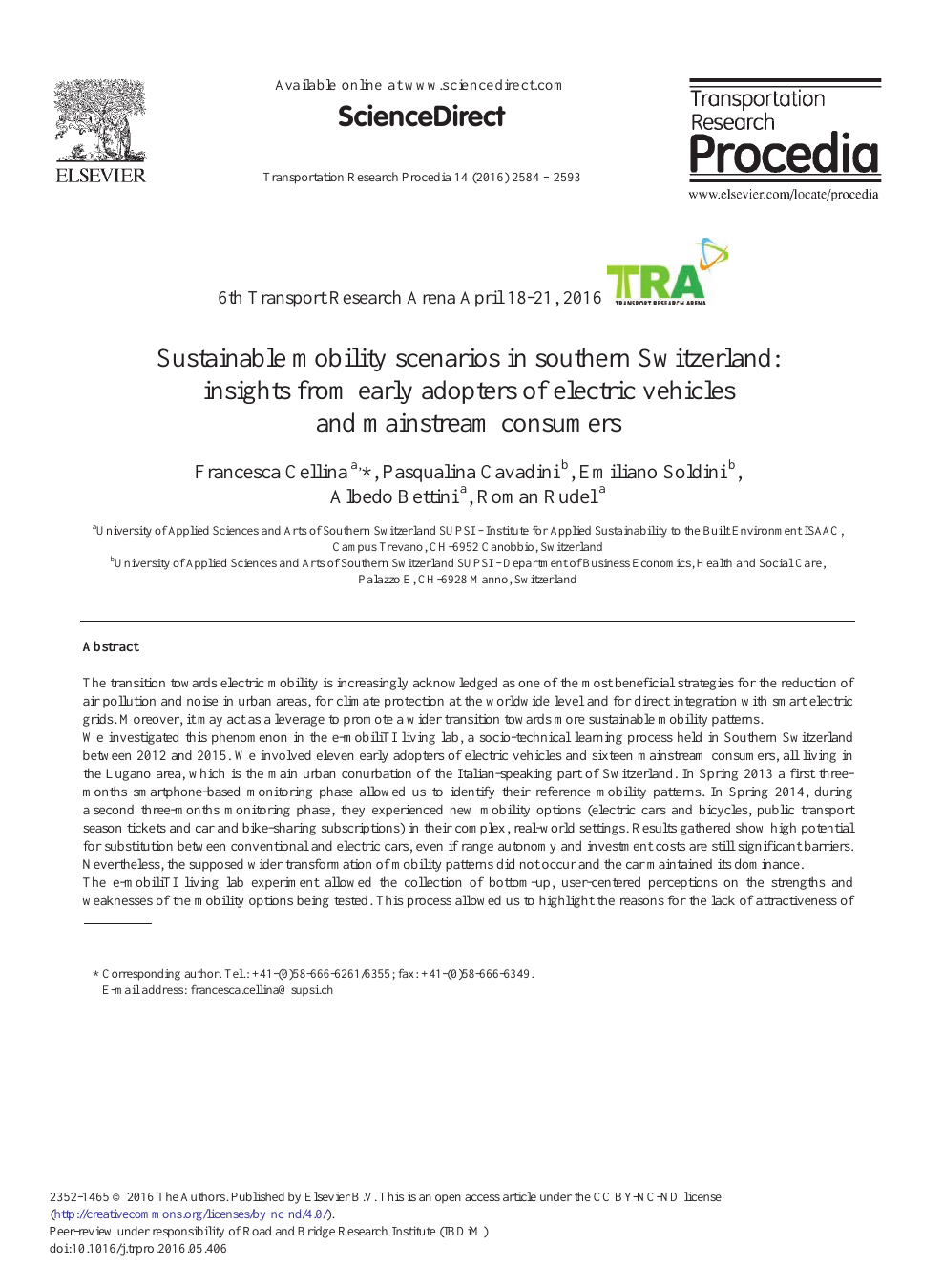 Sustainable Mobility Scenarios In Southern Switzerland Insights From Early Adopters Of Electric Vehicles And Mainstream Consumers Topic Of Research Paper In Social And Economic Geography Download Scholarly Article Pdf And Read