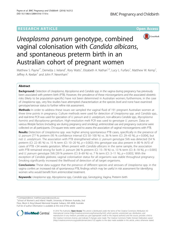 Ureaplasma parvum genotype, combined vaginal colonisation