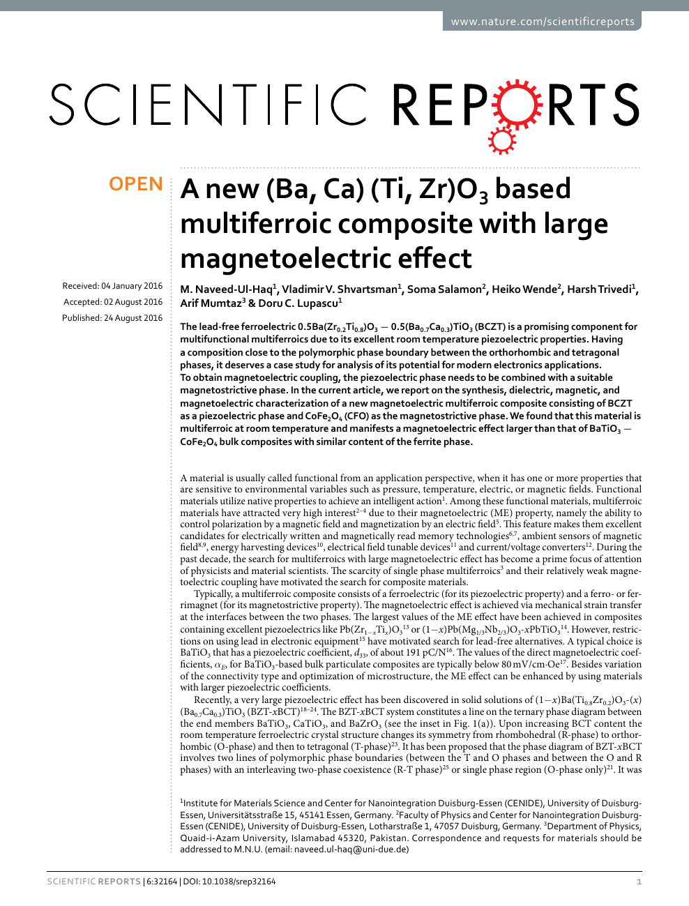 A new (Ba, Ca) (Ti, Zr)O3 based multiferroic composite with