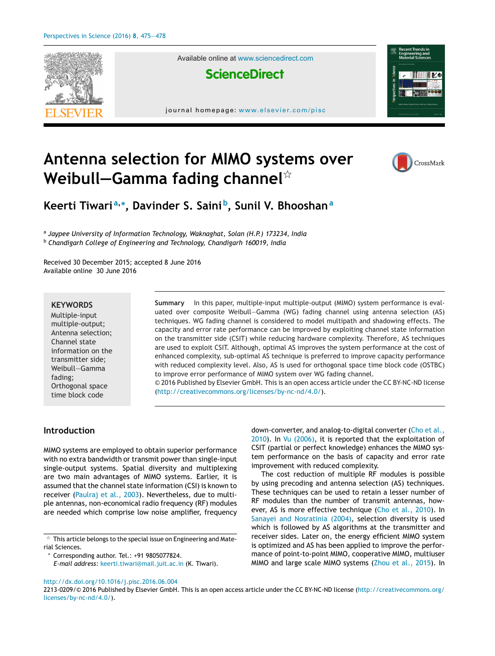Antenna selection for MIMO systems over Weibull–Gamma fading